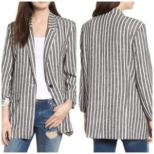 BP. Oversized Striped Cinch Sleeve Blazer XS